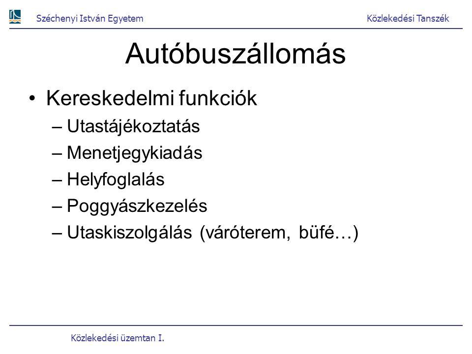 Széchenyi István EgyetemKözlekedési Tanszék Közlekedési üzemtan I. Autóbuszállomás Kereskedelmi funkciók –Utastájékoztatás –Menetjegykiadás –Helyfogla