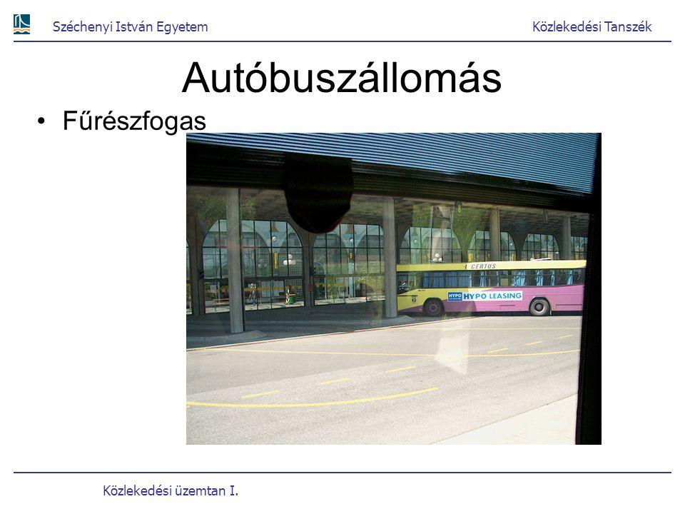 Széchenyi István EgyetemKözlekedési Tanszék Közlekedési üzemtan I. Autóbuszállomás Fűrészfogas