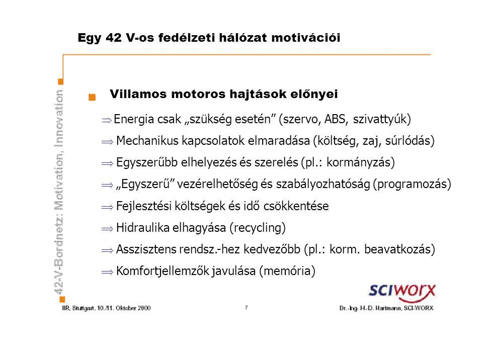 """Egy 42 V-os fedélzeti hálózat motivációi Villamos motoros hajtások előnyei  Energia csak """"szükség esetén (szervo, ABS, szivattyúk)  Mechanikus kapcsolatok elmaradása (költség, zaj, súrlódás)  Egyszerűbb elhelyezés és szerelés (pl.: kormányzás)  """"Egyszerű vezérelhetőség és szabályozhatóság (programozás)  Fejlesztési költségek és idő csökkentése  Hidraulika elhagyása (recycling)  Asszisztens rendsz.-hez kedvezőbb (pl.: korm."""
