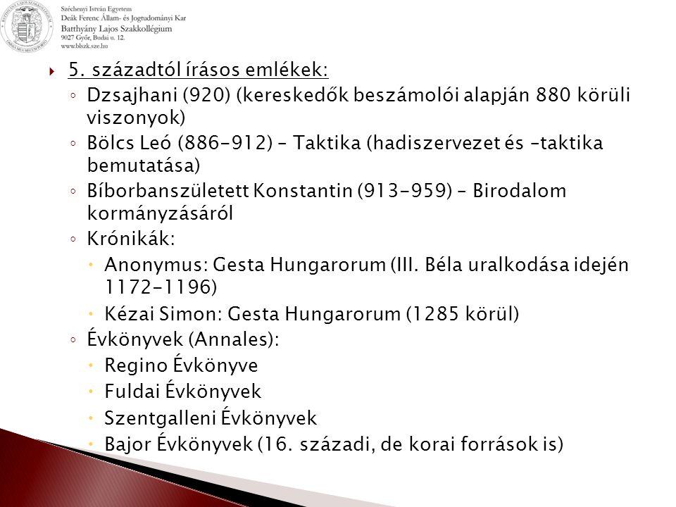  Baskíria = Magna Hungaria ◦ Első európai szálláshely ◦ Első kapcsolatok török népekkel ◦ Nemzetség és törzsfők szerepének növekedése  Levédia (750 körül) ◦ Pontos helye bizonytalan (talán: Don, Donyec, Azovi-tenger határolta terület) ◦ Szoros kapcsolat a kazár birodalommal ◦ Levédi nevét a magyar törzsfőről Levediről kapta (Konstantin) ◦ Kazár mintára kettős fejedelemség  Kündü: névleges uralkodó, szakrális feladatok  Gyula: államügyek intézése, hadsereg vezetése  7 törzs: 5 török nevű (Kér, Keszi, Tarján, Kürtgyarmat, Jenő) 2 finnugor (Nyék, Magyar) + kabarok (előhadként funkcionáltak)