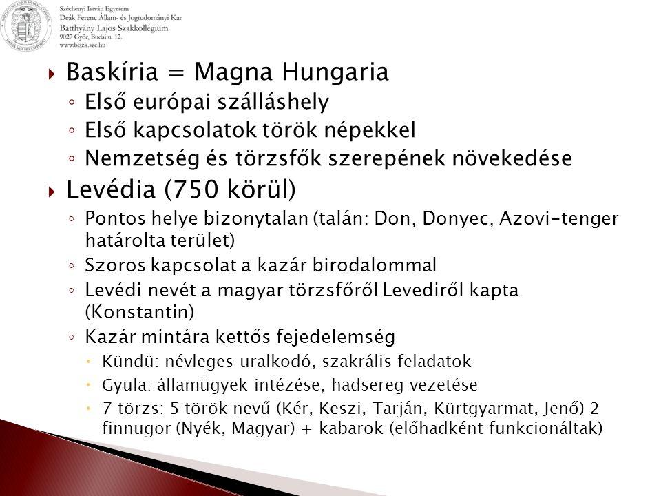  Baskíria = Magna Hungaria ◦ Első európai szálláshely ◦ Első kapcsolatok török népekkel ◦ Nemzetség és törzsfők szerepének növekedése  Levédia (750