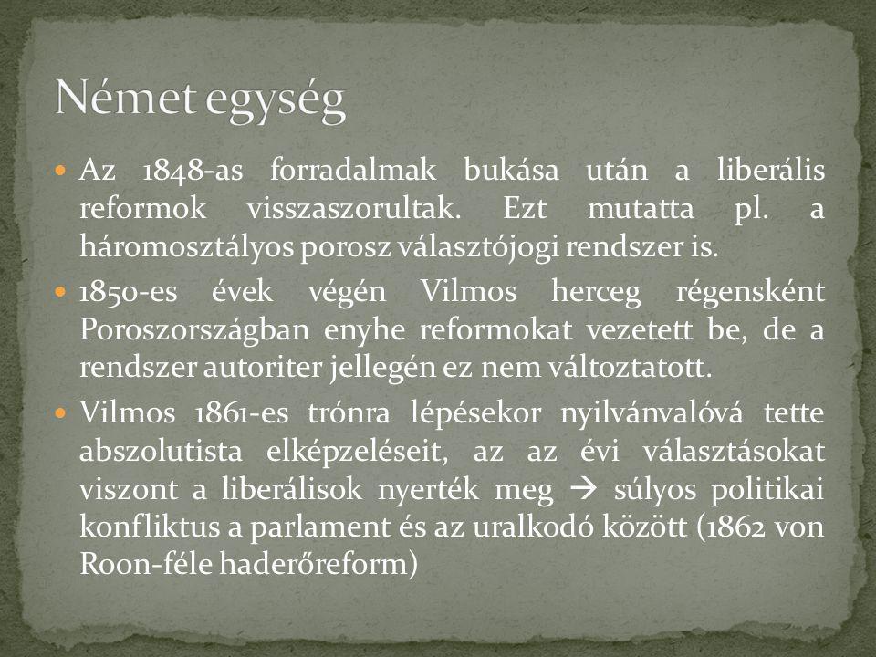 Az 1848-as forradalmak bukása után a liberális reformok visszaszorultak. Ezt mutatta pl. a háromosztályos porosz választójogi rendszer is. 1850-es éve