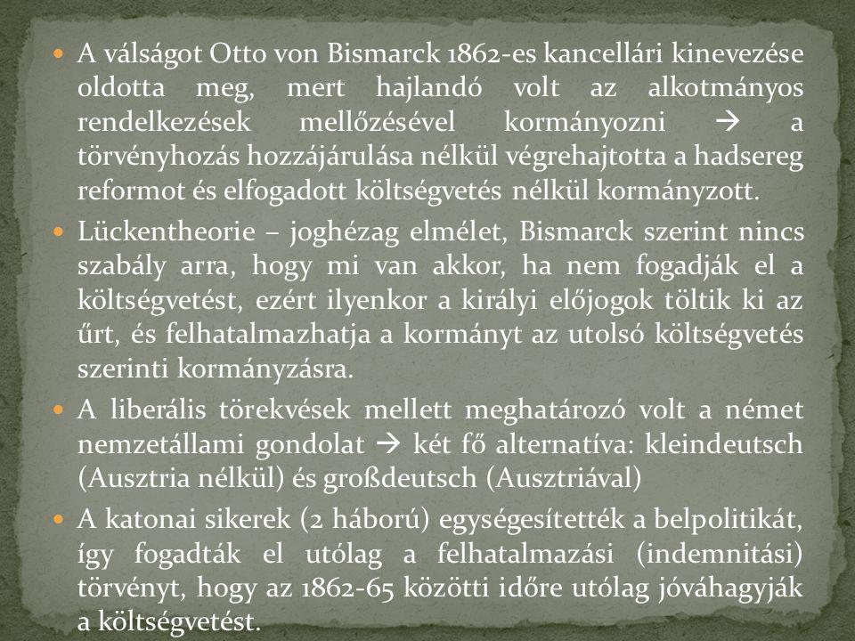 A válságot Otto von Bismarck 1862-es kancellári kinevezése oldotta meg, mert hajlandó volt az alkotmányos rendelkezések mellőzésével kormányozni  a t