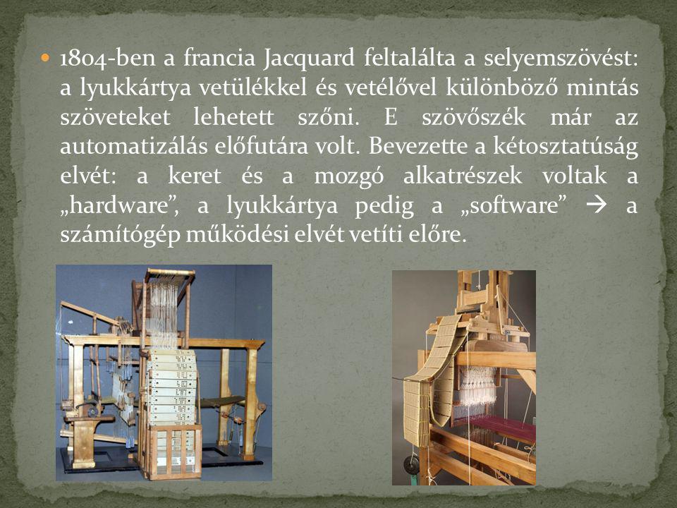 1804-ben a francia Jacquard feltalálta a selyemszövést: a lyukkártya vetülékkel és vetélővel különböző mintás szöveteket lehetett szőni. E szövőszék m
