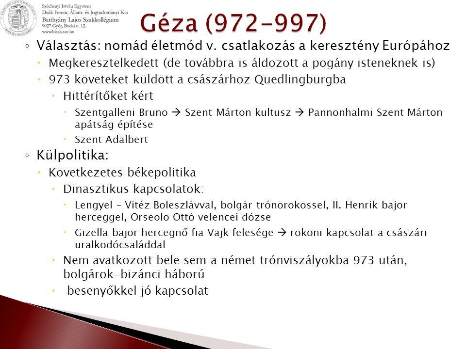 ◦ Álmos horvát királyként önálló politikát kívánt folytatni, átadta neki a dukátus 1102 horvát királlyá koronáztatta magát ◦ Dalmácia felé fordulás  Korábban Bizánci majd Velencei befolyás  1104 házasságkötés révén elnyerte Bizánc támogatását  1105 Zara[Zadar] ostrom alá vette, de megfelelő ígéret tett és a város önként megadta magát, ez évben a többi jelentős város is harc nélkül behódolt (Trau, Spalato[Split], Raguza[Dubrovnik], majd a szigetek is oka Kálmán nem csorbította önállóságukat, de védelmet nyújtott Velencével szemben  1106 a pápa elismeri a magyar királyt Dalmácia és Horvátország uralkodójának, ennek fejében a király lemond a püspök beiktatási jogáról és elismeri a papi nőtlenséget