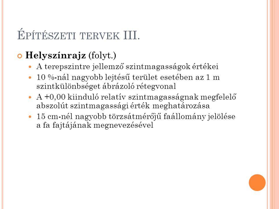 É PÍTÉSZETI TERVEK III. Helyszínrajz (folyt.) A terepszintre jellemző szintmagasságok értékei 10 %-nál nagyobb lejtésű terület esetében az 1 m szintkü