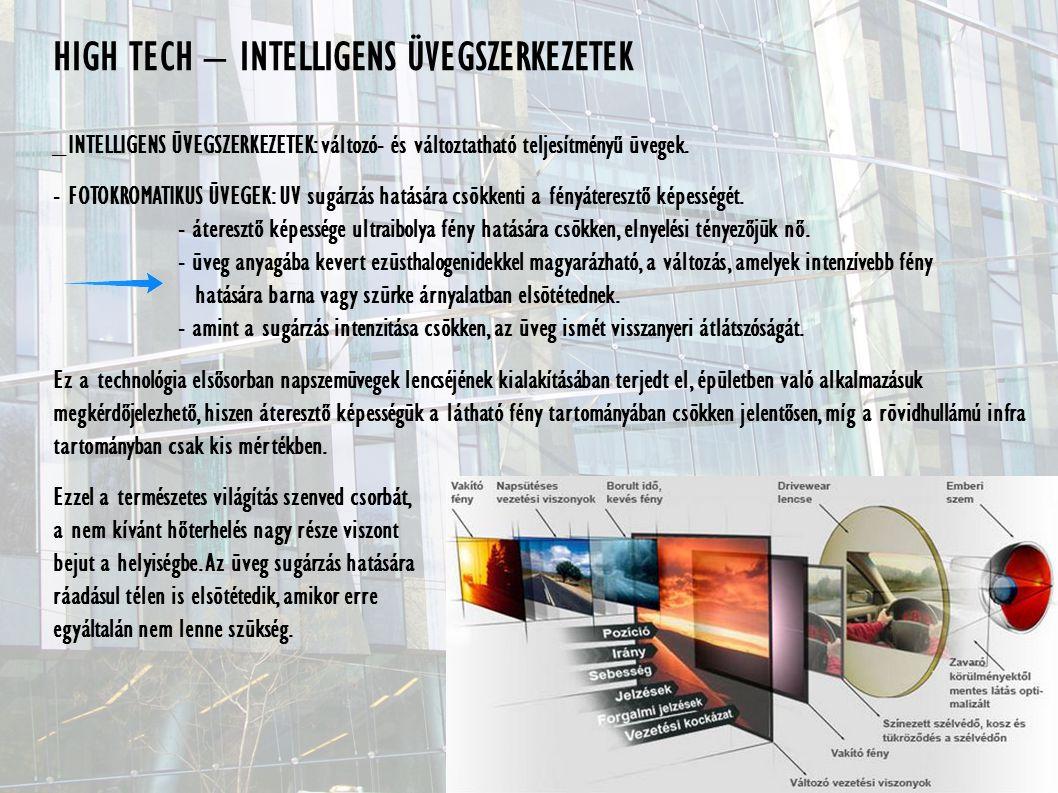 HIGH TECH – INTELLIGENS ÜVEGSZERKEZETEK _INTELLIGENS ÜVEGSZERKEZETEK: változó- és változtatható teljesítményű üvegek.