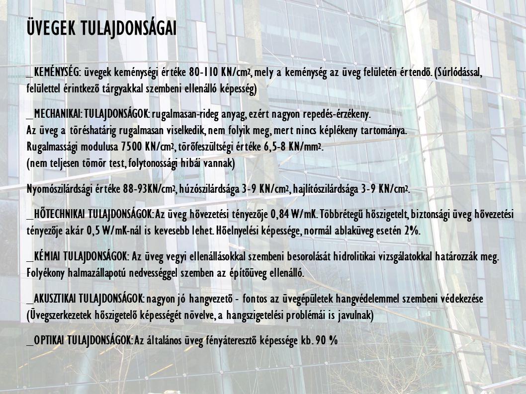 ÜVEGEK TULAJDONSÁGAI _KEMÉNYSÉG: üvegek keménységi értéke 80-110 KN/cm 2, mely a keménység az üveg felületén értendő.