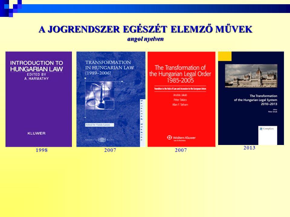 A JOGRENDSZER EGÉSZÉT ELEMZŐ MŰVEK angol és magyar nyelven 1998 2007 2013 20072009 20072008 ?