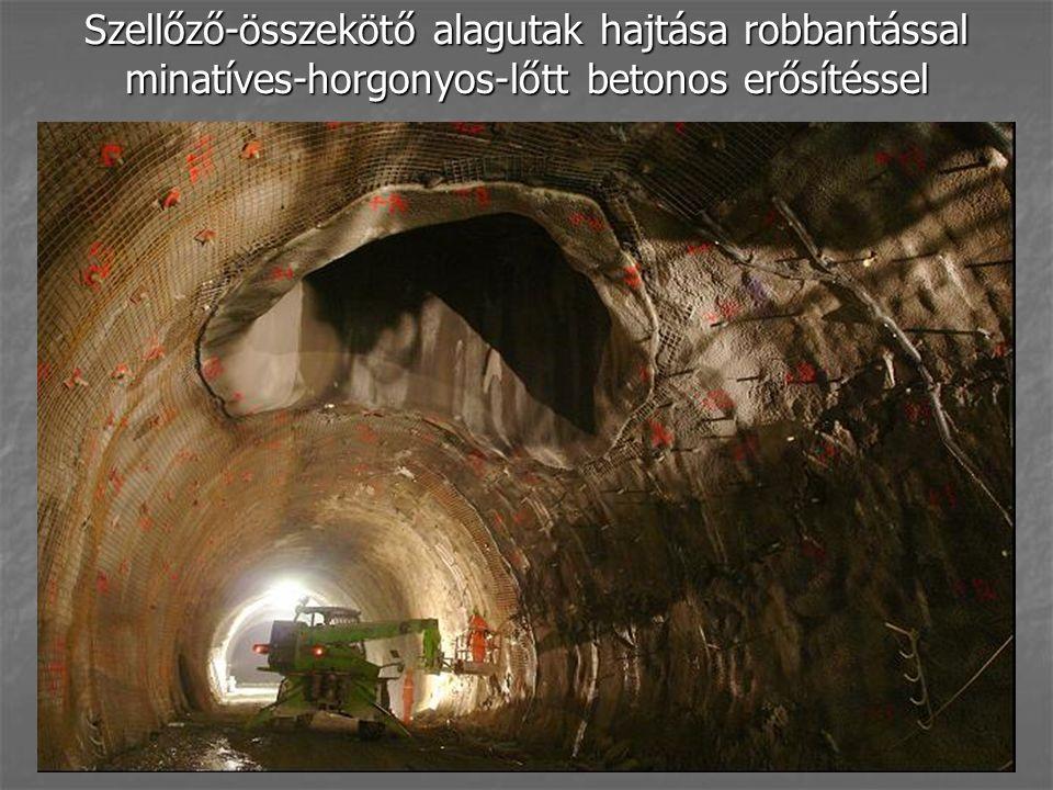 Szellőző-összekötő alagutak hajtása robbantással minatíves-horgonyos-lőtt betonos erősítéssel