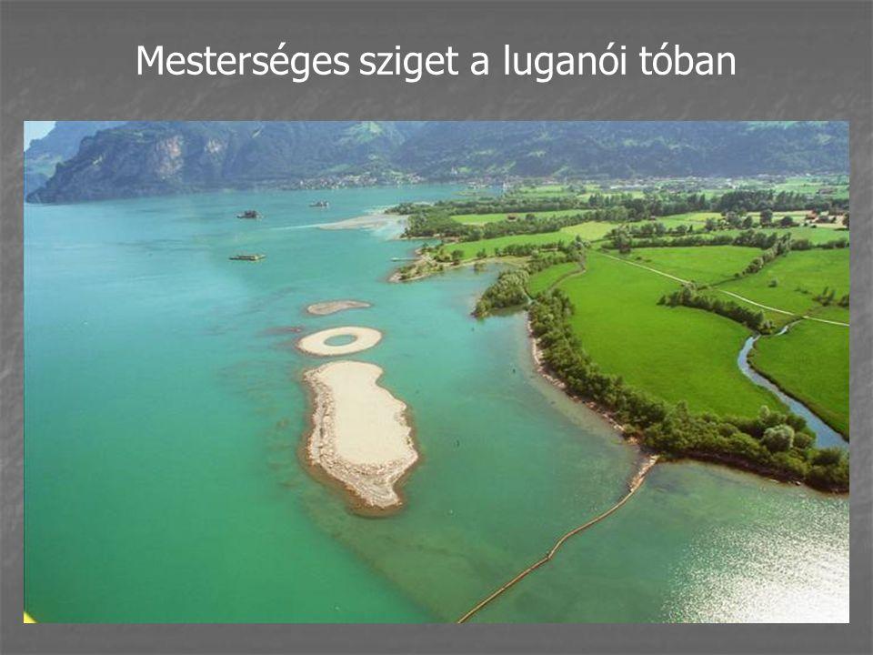 Mesterséges sziget a luganói tóban