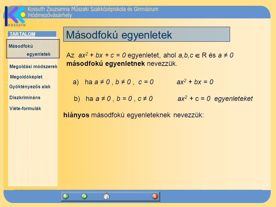 TARTALOM Másodfokú egyenletek Megoldóképlet Megoldási módszerek Gyöktényezős alak Diszkrimináns Viète-formulák Másodfokú egyenletek Az ax 2 + bx + c =