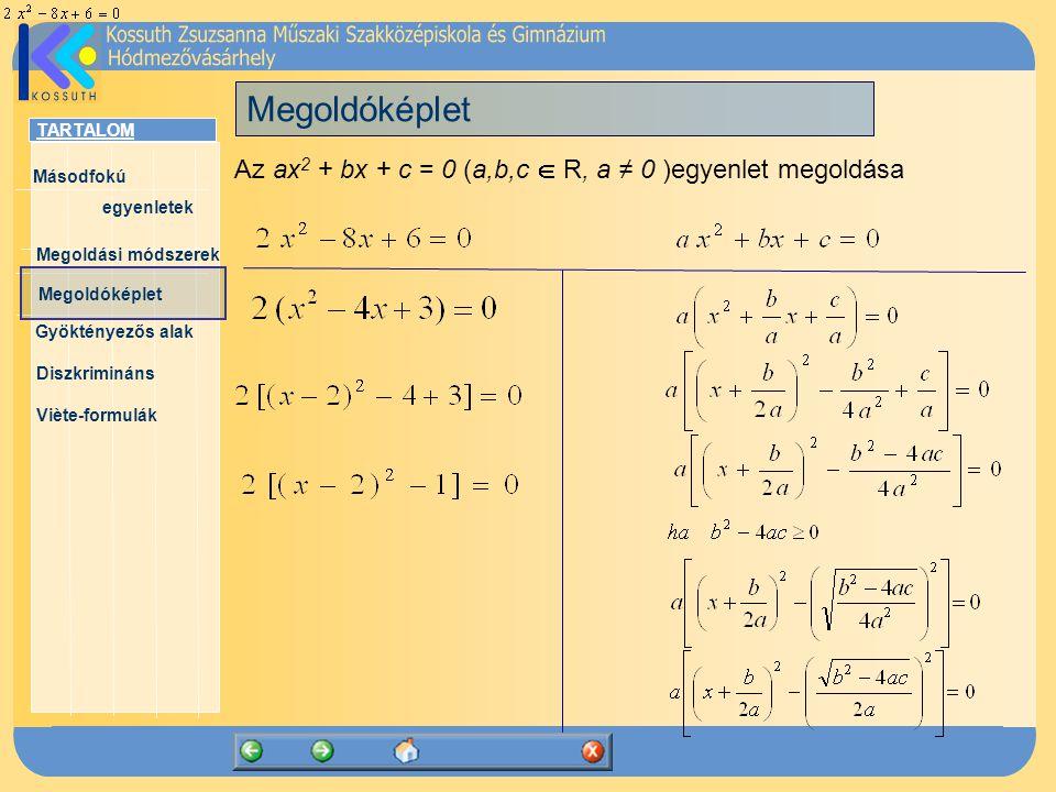 TARTALOM Másodfokú egyenletek Megoldóképlet Megoldási módszerek Gyöktényezős alak Diszkrimináns Viète-formulák Az ax 2 + bx + c = 0 (a,b,c  R, a ≠ 0 )egyenlet megoldóképlete