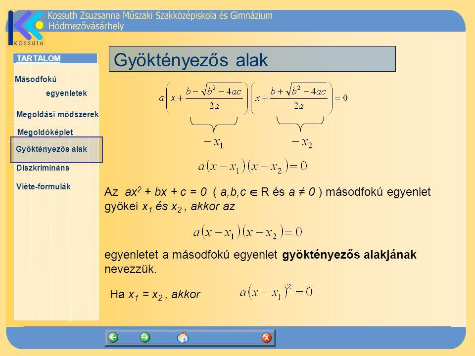 TARTALOM Másodfokú egyenletek Megoldóképlet Megoldási módszerek Gyöktényezős alak Diszkrimináns Viète-formulák Gyöktényezős alak egyenletet a másodfokú egyenlet gyöktényezős alakjának nevezzük.