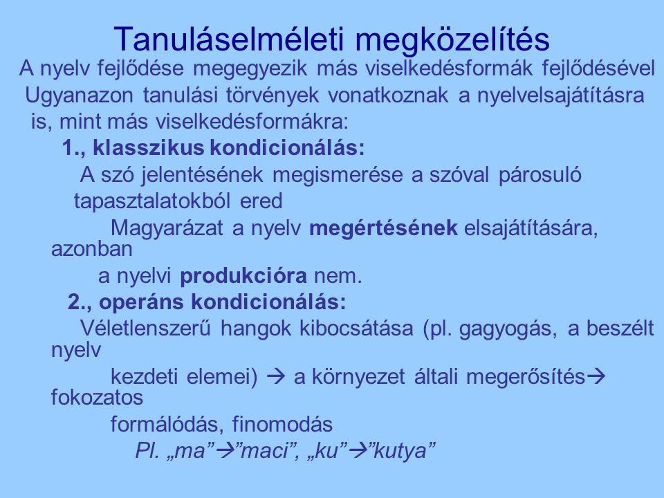 Tanuláselméleti megközelítés A nyelv fejlődése megegyezik más viselkedésformák fejlődésével Ugyanazon tanulási törvények vonatkoznak a nyelvelsajátításra is, mint más viselkedésformákra: 1., klasszikus kondicionálás: A szó jelentésének megismerése a szóval párosuló tapasztalatokból ered Magyarázat a nyelv megértésének elsajátítására, azonban a nyelvi produkcióra nem.
