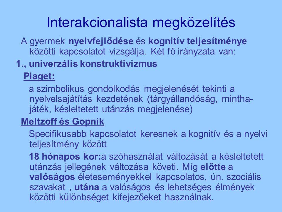 Interakcionalista megközelítés A gyermek nyelvfejlődése és kognitív teljesítménye közötti kapcsolatot vizsgálja.