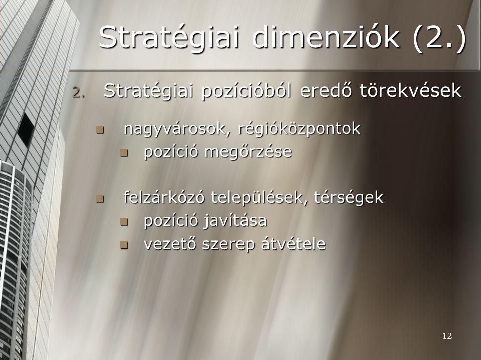 12 Stratégiai dimenziók (2.) 2. Stratégiai pozícióból eredő törekvések nagyvárosok, régióközpontok nagyvárosok, régióközpontok pozíció megőrzése pozíc