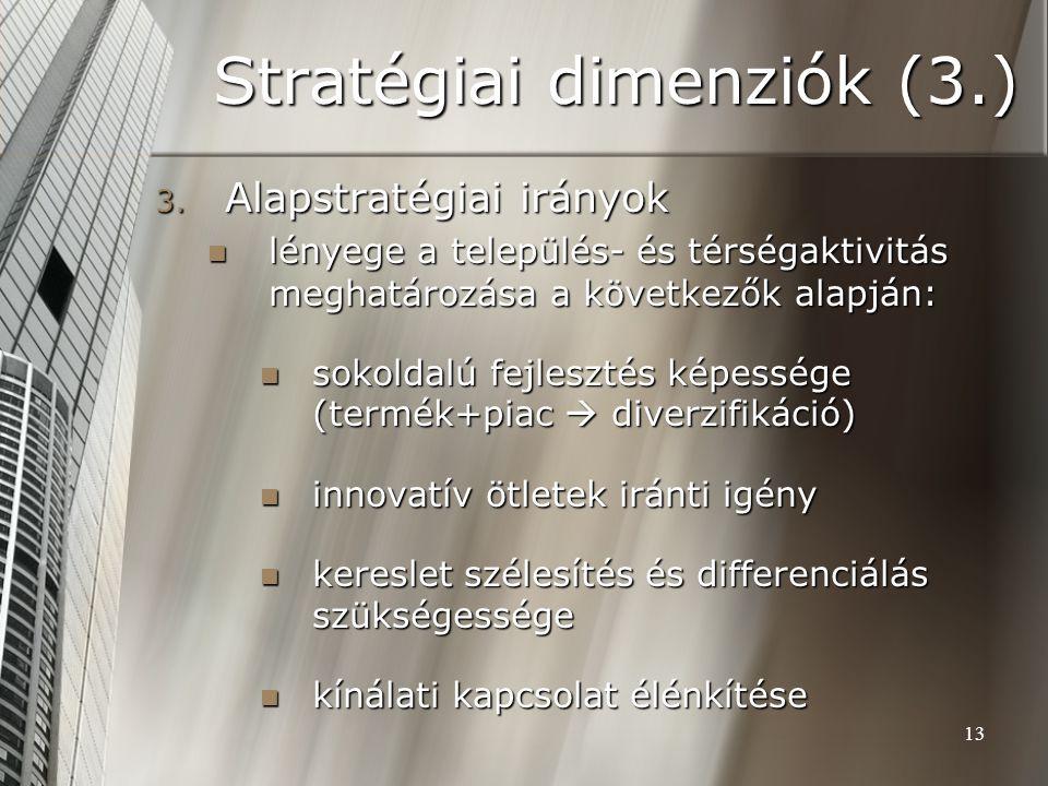 13 Stratégiai dimenziók (3.) 3. Alapstratégiai irányok lényege a település- és térségaktivitás meghatározása a következők alapján: lényege a település