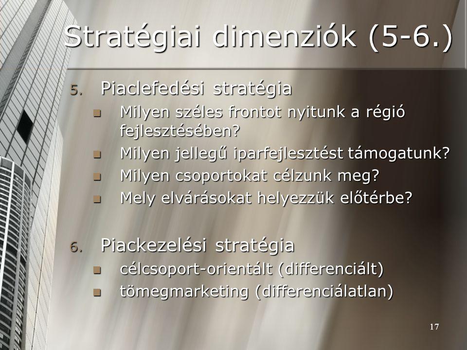 17 Stratégiai dimenziók (5-6.) 5. Piaclefedési stratégia Milyen széles frontot nyitunk a régió fejlesztésében? Milyen széles frontot nyitunk a régió f