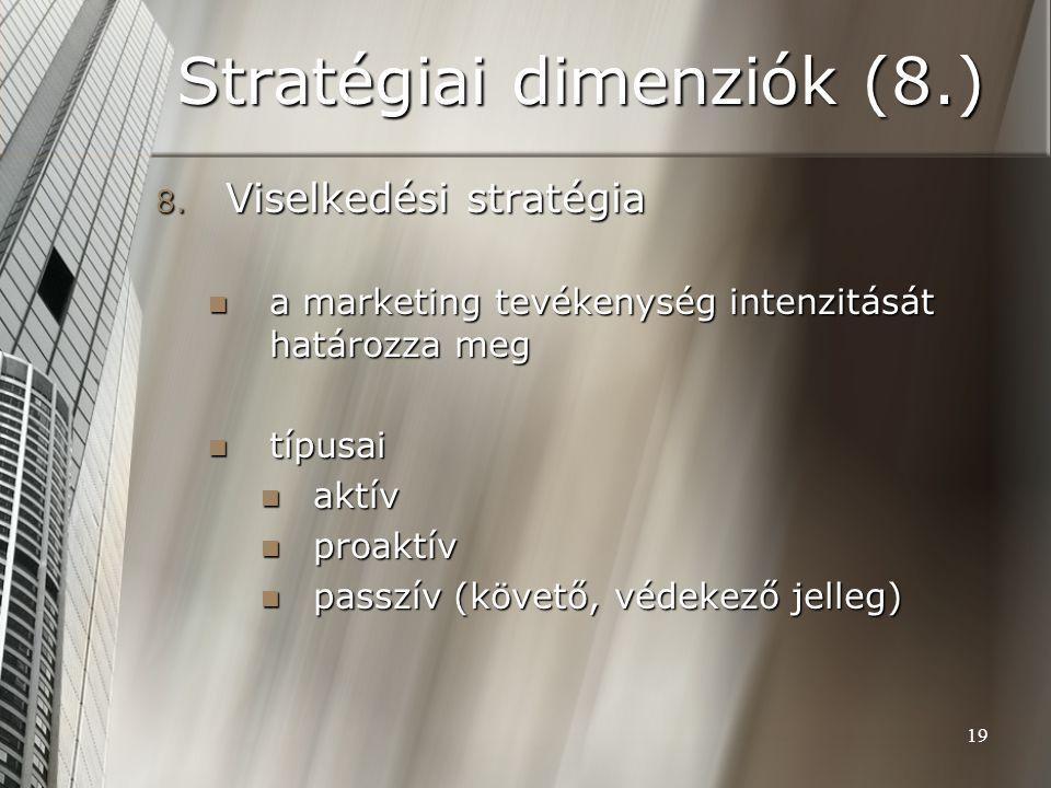 19 Stratégiai dimenziók (8.) 8. Viselkedési stratégia a marketing tevékenység intenzitását határozza meg a marketing tevékenység intenzitását határozz