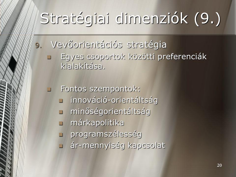 20 Stratégiai dimenziók (9.) 9. Vevőorientációs stratégia Egyes csoportok közötti preferenciák kialakítása. Egyes csoportok közötti preferenciák kiala