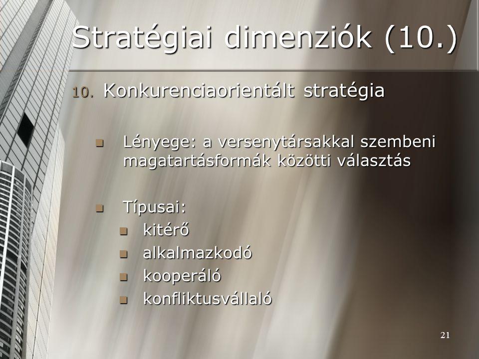21 Stratégiai dimenziók (10.) 10. Konkurenciaorientált stratégia Lényege: a versenytársakkal szembeni magatartásformák közötti választás Lényege: a ve
