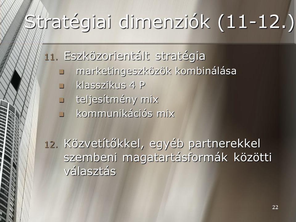 22 Stratégiai dimenziók (11-12.) 11. Eszközorientált stratégia marketingeszközök kombinálása marketingeszközök kombinálása klasszikus 4 P klasszikus 4