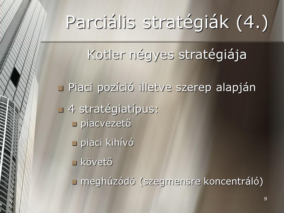 9 Parciális stratégiák (4.) Kotler négyes stratégiája Piaci pozíció illetve szerep alapján Piaci pozíció illetve szerep alapján 4 stratégiatípus: 4 stratégiatípus: piacvezető piacvezető piaci kihívó piaci kihívó követő követő meghúzódó (szegmensre koncentráló) meghúzódó (szegmensre koncentráló)