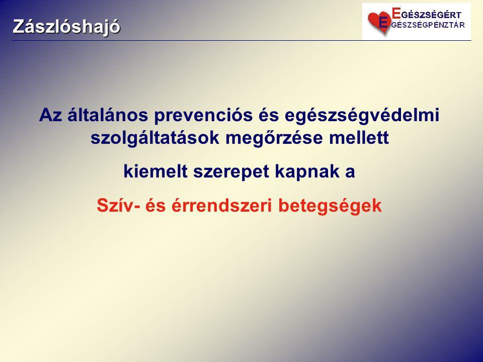 Zászlóshajó Az általános prevenciós és egészségvédelmi szolgáltatások megőrzése mellett kiemelt szerepet kapnak a Szív- és érrendszeri betegségek