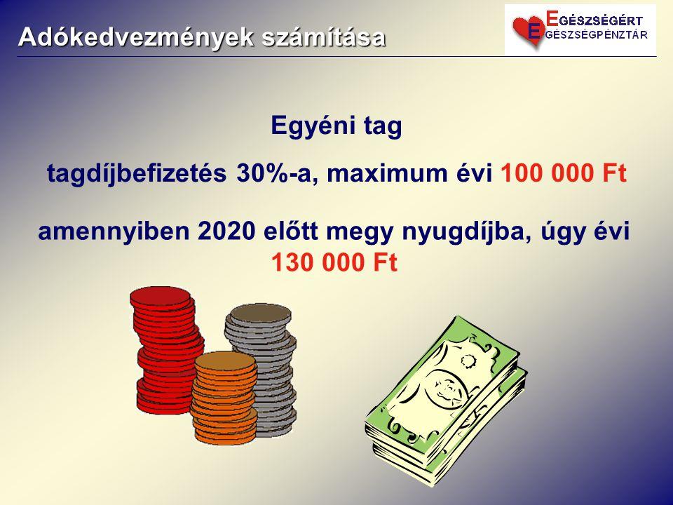 Adókedvezmények számítása Egyéni tag tagdíjbefizetés 30%-a, maximum évi 100 000 Ft amennyiben 2020 előtt megy nyugdíjba, úgy évi 130 000 Ft