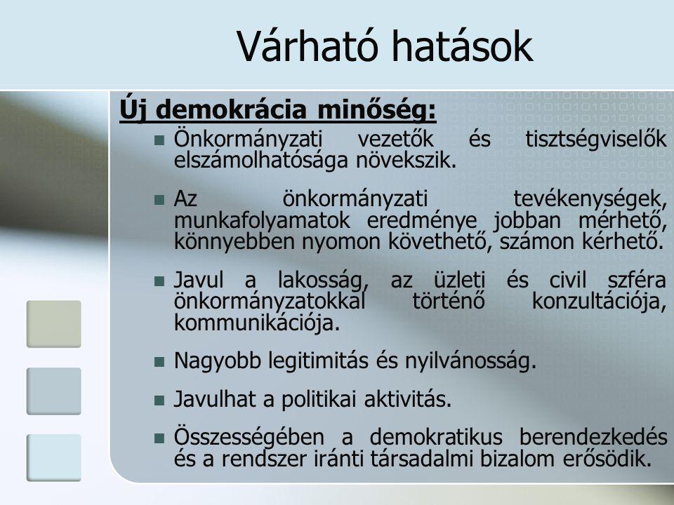 Várható hatások Új demokrácia minőség: Önkormányzati vezetők és tisztségviselők elszámolhatósága növekszik. Az önkormányzati tevékenységek, munkafolya