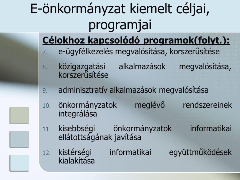 E-önkormányzat kiemelt céljai, programjai Célokhoz kapcsolódó programok(folyt.): 7. e-ügyfélkezelés megvalósítása, korszerűsítése 8. közigazgatási alk