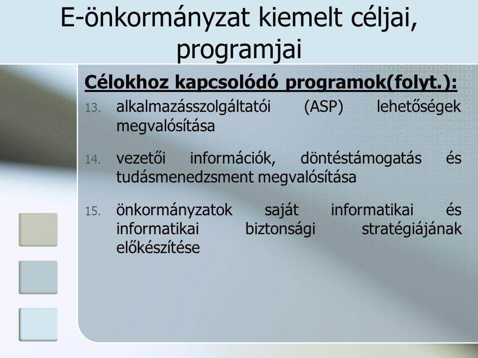 E-önkormányzat kiemelt céljai, programjai Célokhoz kapcsolódó programok(folyt.): 13. alkalmazásszolgáltatói (ASP) lehetőségek megvalósítása 14. vezető