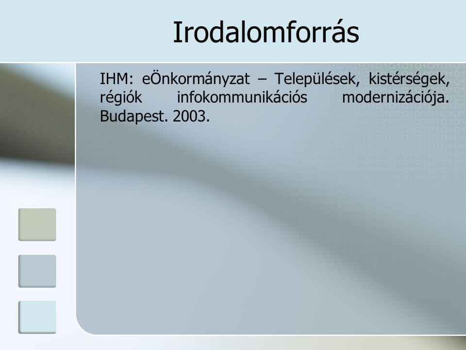 Irodalomforrás IHM: eÖnkormányzat – Települések, kistérségek, régiók infokommunikációs modernizációja. Budapest. 2003.