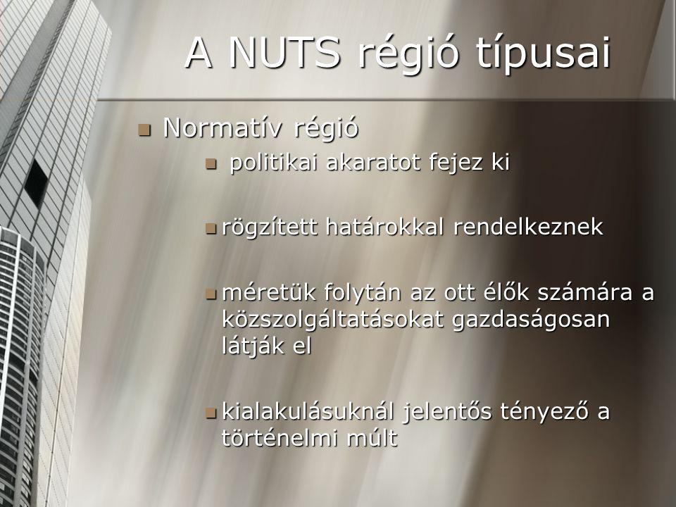 A NUTS régió típusai Normatív régió Normatív régió politikai akaratot fejez ki politikai akaratot fejez ki rögzített határokkal rendelkeznek rögzített