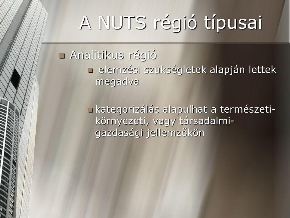 A NUTS régió típusai Analitikus régió Analitikus régió elemzési szükségletek alapján lettek megadva elemzési szükségletek alapján lettek megadva kateg