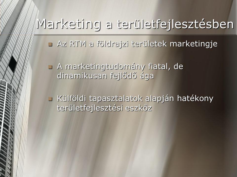 Marketing a területfejlesztésben Az RTM a földrajzi területek marketingje Az RTM a földrajzi területek marketingje A marketingtudomány fiatal, de dina