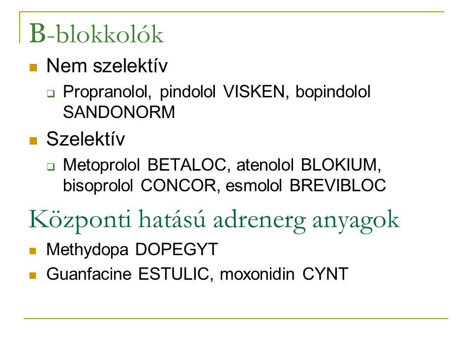 A perifériás erekre ható gyógyszerek Direkt vazodilatatorok (az ér simaizomzatát lazítják) Nitroglycerin NITRODERM,NITRO-POHL, isosorbid mononitrat OLICARD, isosobid dinitrat ISDN-AL, natrium-nitroprussid NO donorok (coronaria- steal és reflex tachycardia!) Ca csatorna blokkolók  Nifedipin CORINFAR, CORDAFLEX, amlodipin NORVASC, felodipin PLENDIL, lacidipin LACIPIL K csatorna nyitók Minoxidil LONITEN α -receptor blokkolók  urapidil EBRANTIL, prazosin MINIPRESS, doxazosin CARDURA ACE gátlók  Captopril TENSIOMIN, enalapril EDNYT, ramipril RAMIPRIL PREVENT, perindopril COVEREX Angiotensin II receptor antagonisták  losartan COZAAR, valsartan DIOVAN, telmisartan PRITOR β -receptor agonisták, ( β -izgatók) (a β –blokkolók csökkentik a vérnyomást de érösszehúzódást okoznak!) α - β -receptor blokkolók  Labetalol, carvedilol DILATREND Hydralazin DEPRESSAN, bencyclan HALIDOR