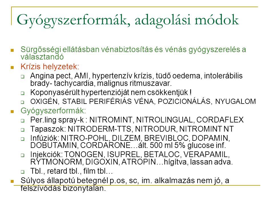 Gyógyszerformák, adagolási módok Sürgősségi ellátásban vénabiztosítás és vénás gyógyszerelés a választandó Krízis helyzetek:  Angina pect, AMI, hyper