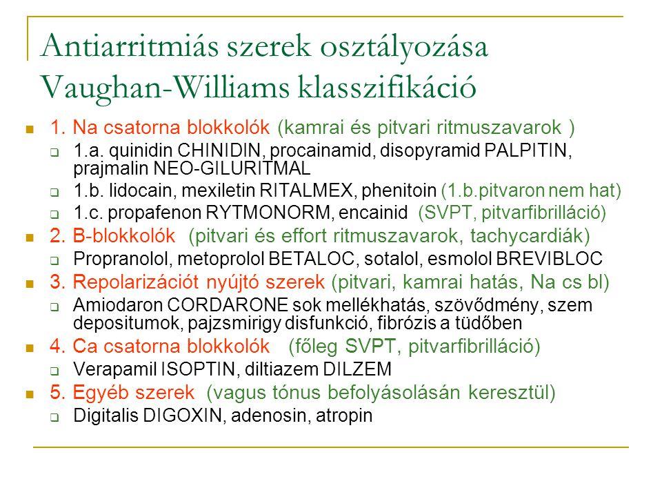 Antiarritmiás szerek osztályozása Vaughan-Williams klasszifikáció 1. Na csatorna blokkolók (kamrai és pitvari ritmuszavarok )  1.a. quinidin CHINIDIN