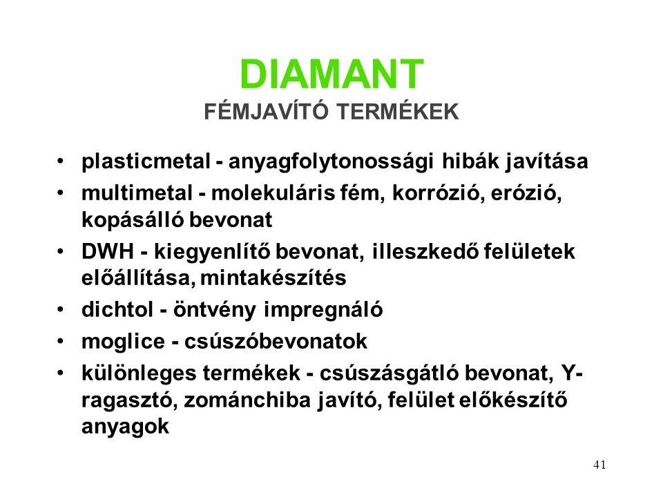 41 DIAMANT FÉMJAVÍTÓ TERMÉKEK plasticmetal - anyagfolytonossági hibák javítása multimetal - molekuláris fém, korrózió, erózió, kopásálló bevonat DWH -