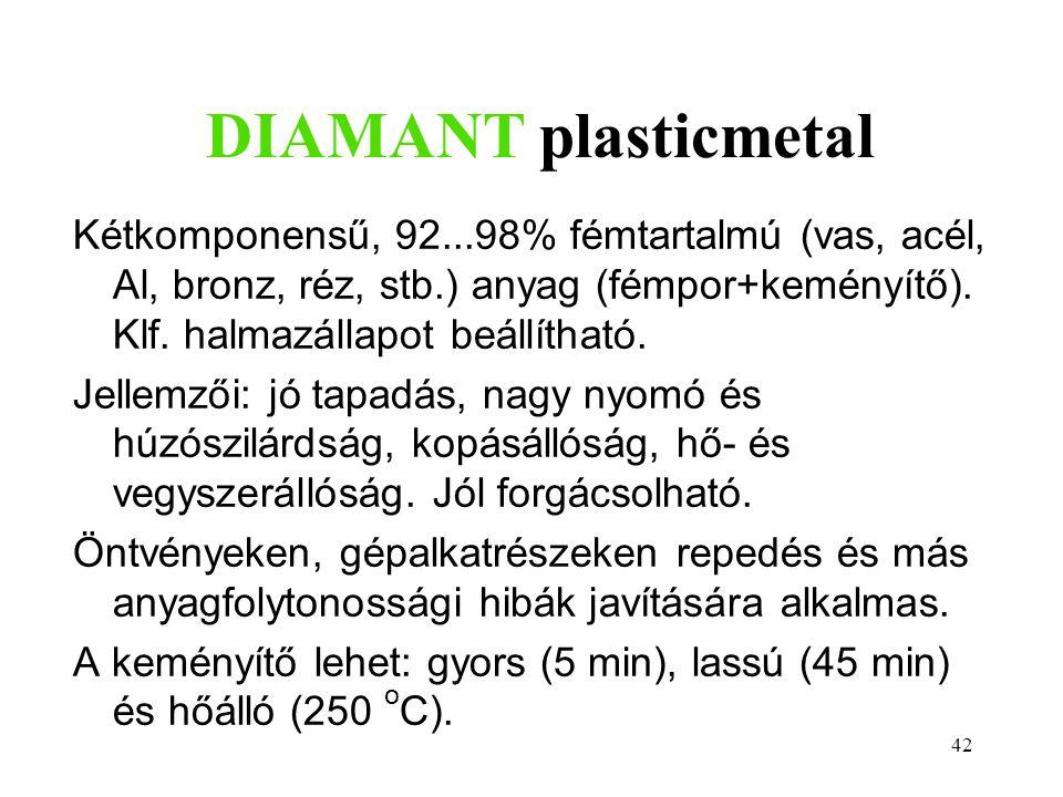 42 DIAMANT plasticmetal Kétkomponensű, 92...98% fémtartalmú (vas, acél, Al, bronz, réz, stb.) anyag (fémpor+keményítő). Klf. halmazállapot beállítható