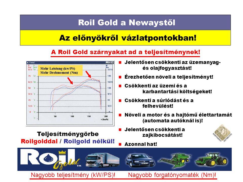 Roil Gold a Newaystől Az előnyökről vázlatpontokban! A Roil Gold szárnyakat ad a teljesítménynek! Teljesítménygörbe Roilgolddal / Roilgold nélkül! Jel