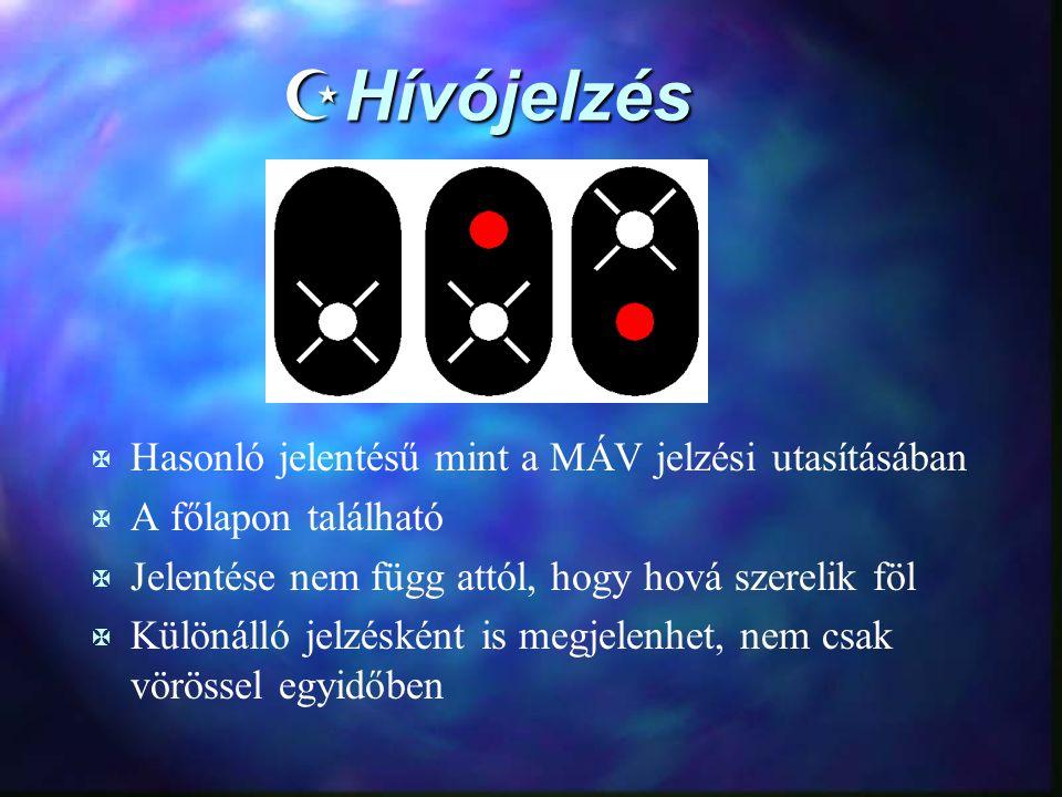 ZHívójelzés X Hasonló jelentésű mint a MÁV jelzési utasításában X A főlapon található X Jelentése nem függ attól, hogy hová szerelik föl X Különálló j