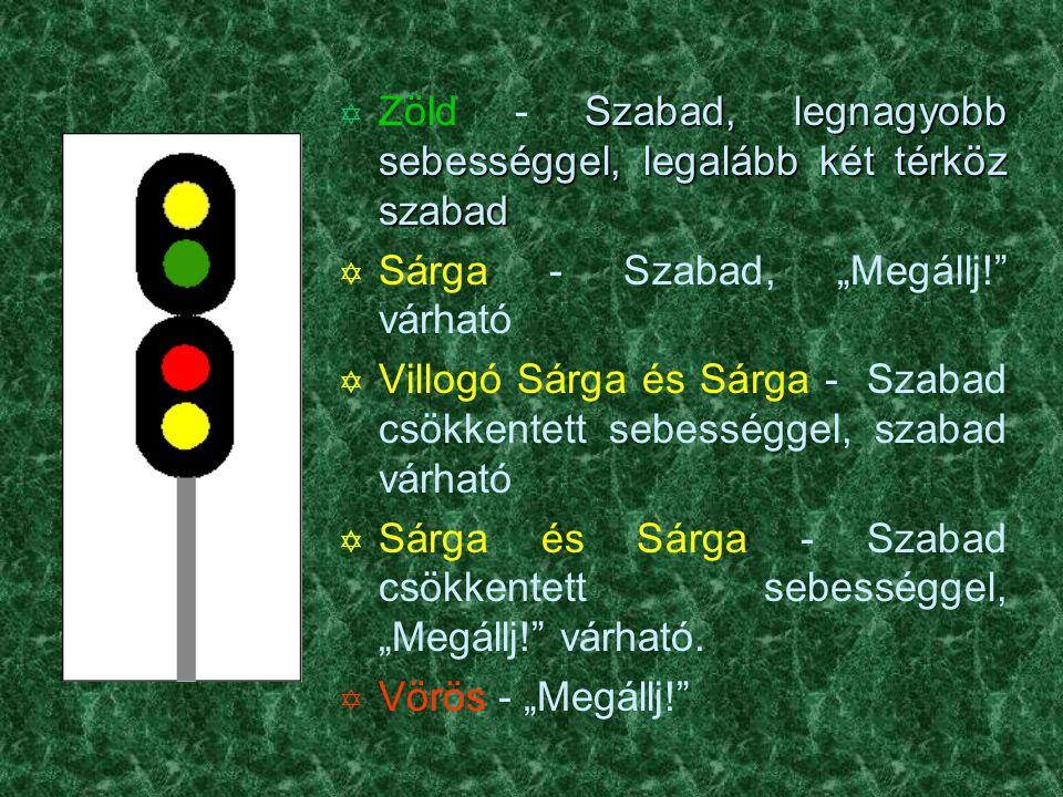 Önműködő térközbiztosítással felszerelt szakaszokon â Villogó Zöld + Sárga + Zöld vízszintes csík - Szabad, legfeljebb 80km/h sebességgel, a következő jelzőn szabad jelzés várható.