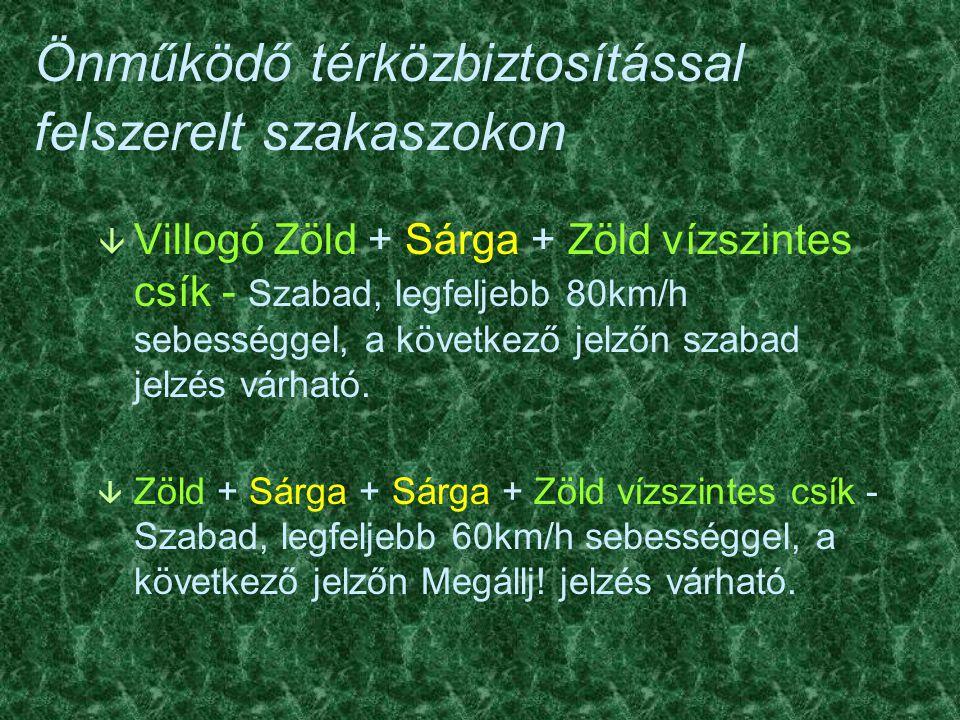 Önműködő térközbiztosítással felszerelt szakaszokon â Villogó Zöld + Sárga + Zöld vízszintes csík - Szabad, legfeljebb 80km/h sebességgel, a következő