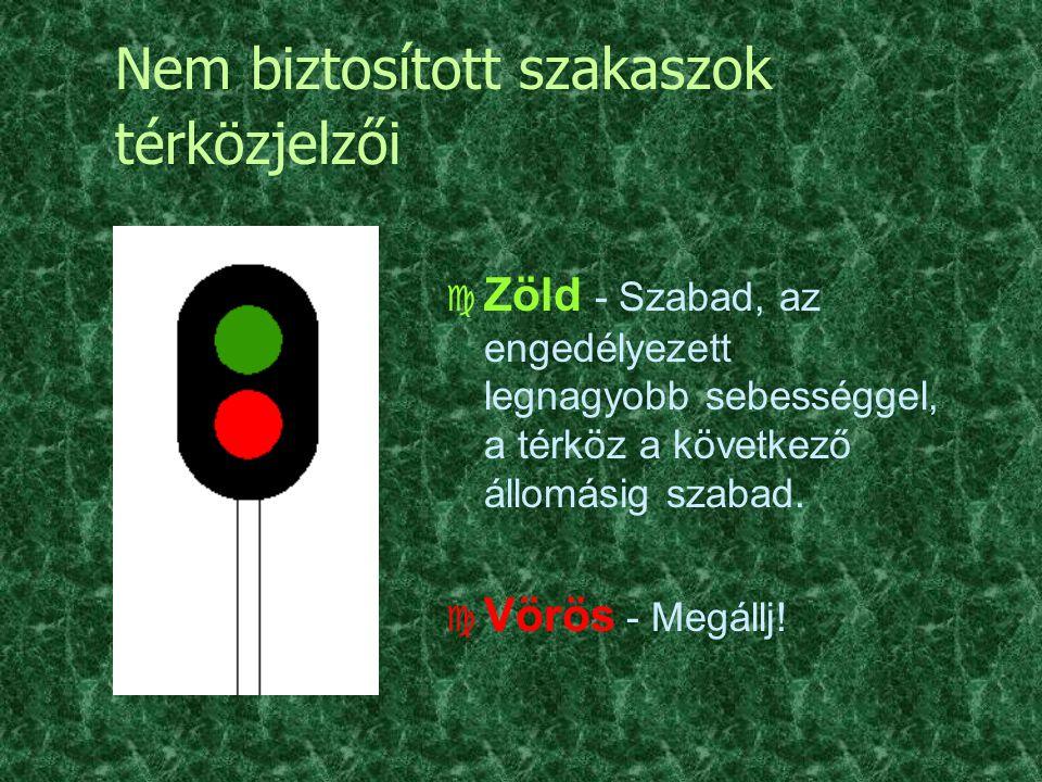 Nem biztosított szakaszok térközjelzői c Zöld - Szabad, az engedélyezett legnagyobb sebességgel, a térköz a következő állomásig szabad. c Vörös - Megá