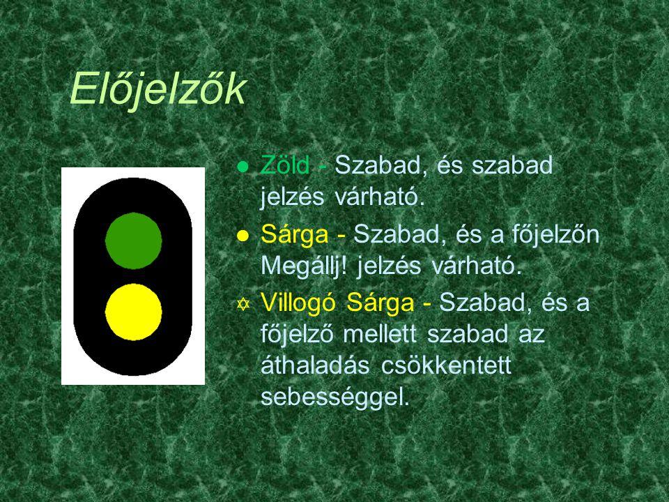 Ismétlőjelzők Ü Csak állomásokon használják l Zöld - a kijárati- vagy áthaladásjelzőn szabad jelzés várható l Sötét - a főjelzőn Megállj.