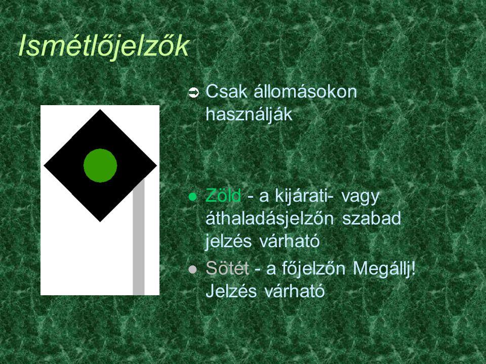 Ismétlőjelzők Ü Csak állomásokon használják l Zöld - a kijárati- vagy áthaladásjelzőn szabad jelzés várható l Sötét - a főjelzőn Megállj! Jelzés várha