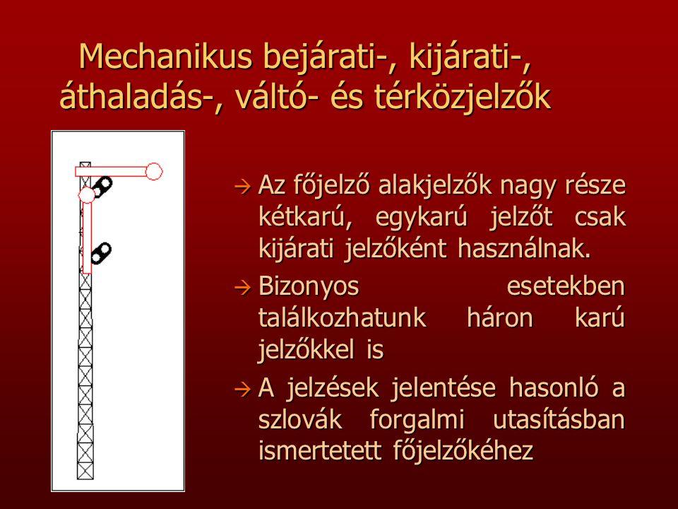 Mechanikus bejárati-, kijárati-, áthaladás-, váltó- és térközjelzők à Az főjelző alakjelzők nagy része kétkarú, egykarú jelzőt csak kijárati jelzőként